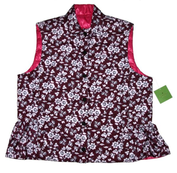 Kate Spade Reversible Quilted Vest Begonia Bloom Pink Size L NWT $198
