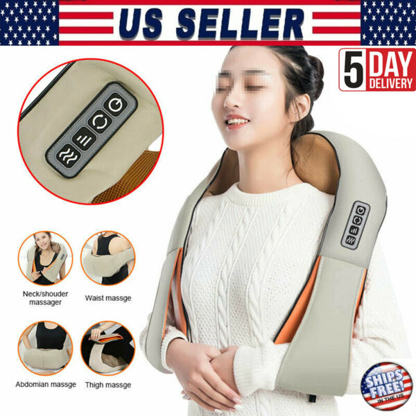 Electric Shiatsu backneck amp; shoulder massager with heat 4 Button Kneading Body $44.99