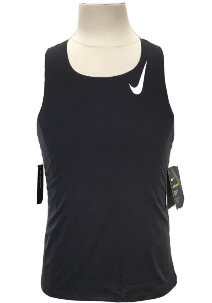 Nike Aeroswift Slim Fit Black Running Tank Top Men#x27;s Size Small CJ7835 010
