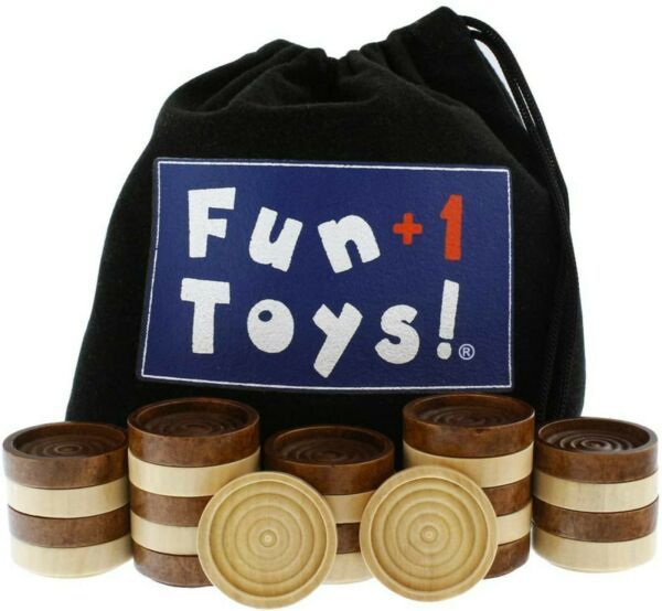 Fun1 Toys Classic Wood Checkers Stackable Pieces Set of 26 Total Checkers $12.99