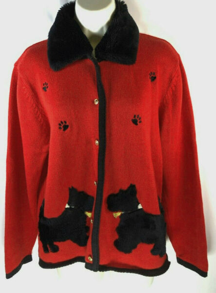 Crystal Kobe S red Scotty Scottie dog removable faux fur collar cardigan sweater $22.99