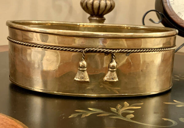 Vintage Brass Oval Planter with Cord and Tassels Detail