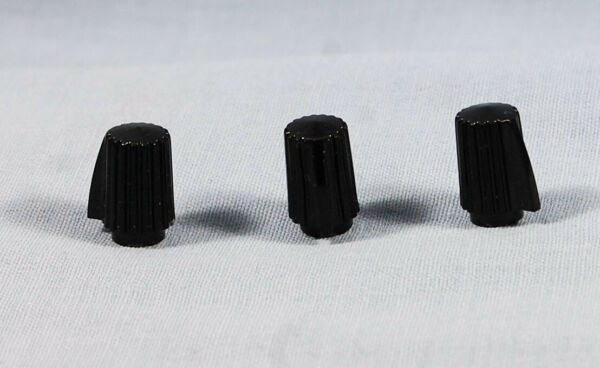 Qty 3 Vintage NOS Black Clock Radio Knob Replacements from 1940s 60s
