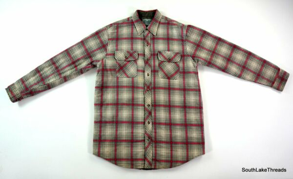 Vintage Outdoor Exchange Insulated Plaid Flannel Button Up Sz Men#x27;s Large $24.99