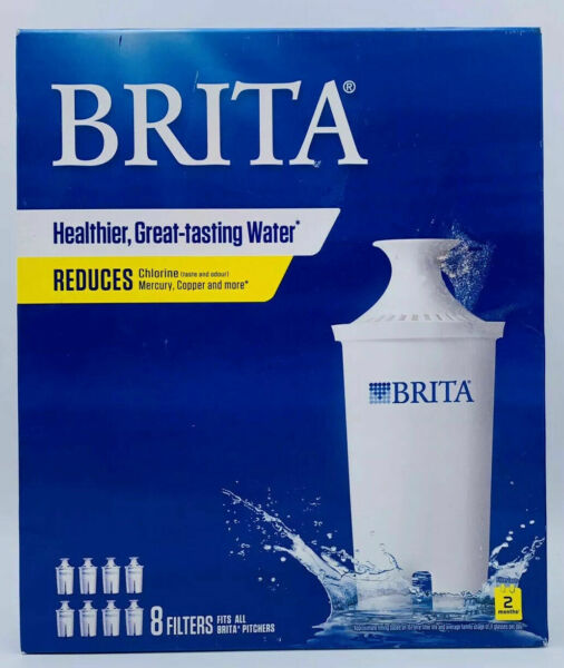 8 pack Brita Pitcher Replacement Water Filters Fits ALL Brita Pitchers