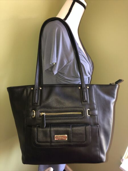 STONE MOUNTAIN Black Leather Shoulder Tote Bag with EXTRA Snap Purse NEW no tags $24.75