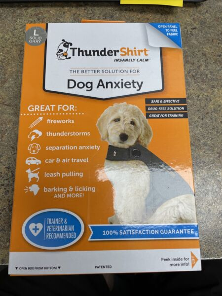 Thundershirt Dog LARGE 41 64 lbs Gray Solution Anxiety Thunder Fireworks Travel $19.77