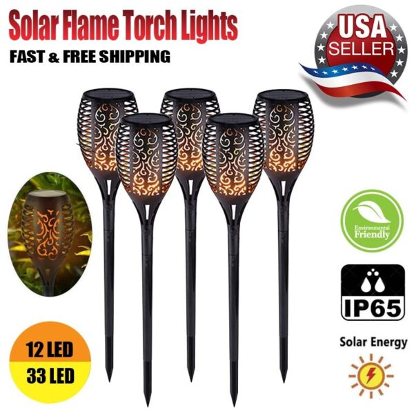Flickering LED Solar Flame Torch Light Outdoor Garden Yard Lawn Pathway Lamp $8.66