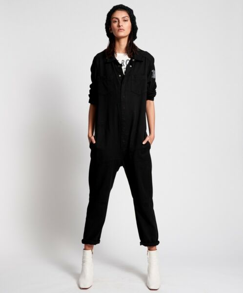 ONE TEASPOON Black BELTED UTILITYJUMPSUIT S $289 Boho Gypsy Gypset Boiler Suit AU $129.00
