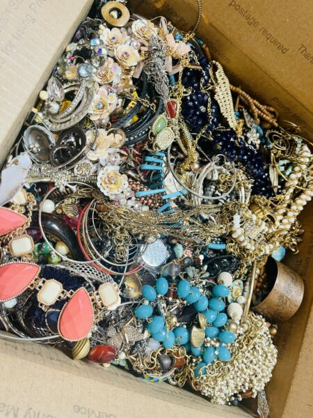 Broken Jewelry Antique to New Bulk Craft Large Box Full Estate and Eclectic