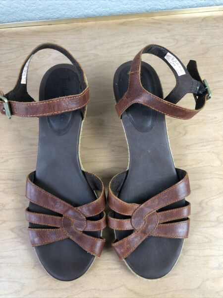 Timberland Sandals Size 8.5 Brown Leather Block Heels Shoes $13.68
