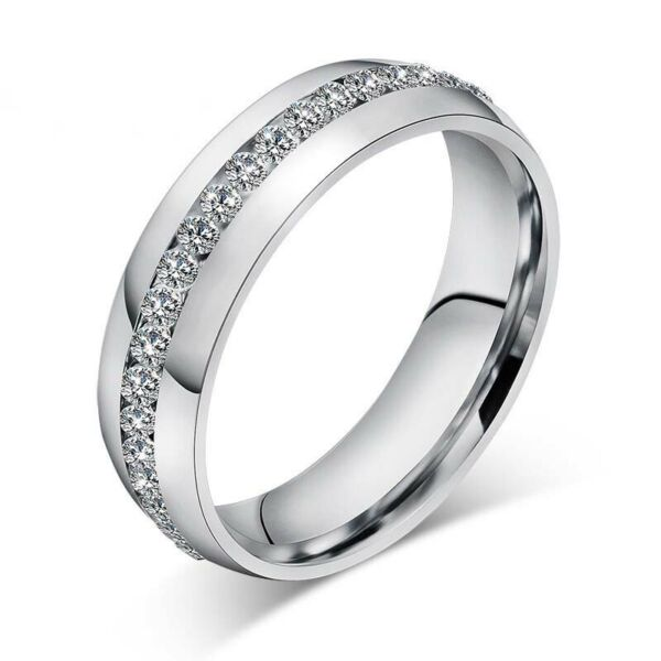 Stainless Steel CZ Ring Womens Mens Jewelry Titanium Rings Wedding Party Bridal C $1.69