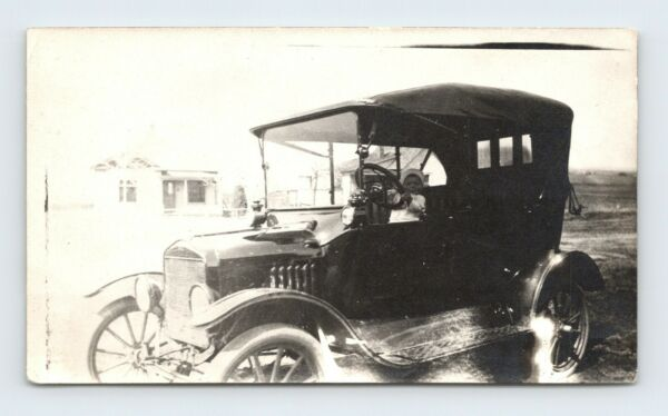 Child quot;Johnquot; Behind the Wheel of an Old Model T Type Car Vintage Photo