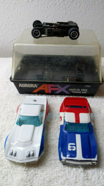 AURORA AFX Vintage Corvette #7 amp; Javelin Trans am #6 Slot Car body amp; 1 chassis