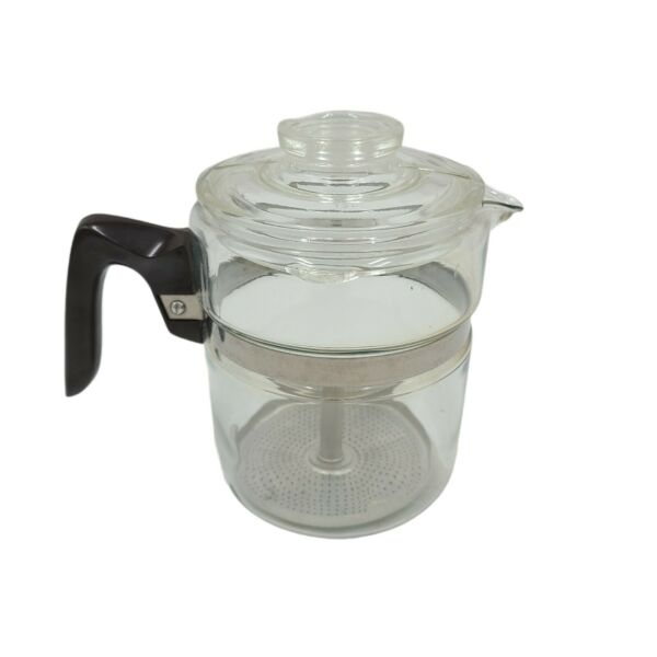 Vintage PYREX Glass Flameware 4 Cup Coffee Stovetop Percolator w Lid amp; Piece
