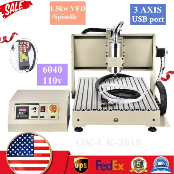 USB 3 Axis CNC 6040 Router 3D Engraver Metal Drilling Milling Machine 1500WRC $1043.00