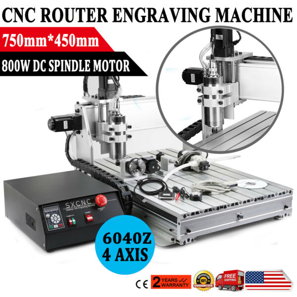 USB 4 Axis 6040Z CNC Router 3D Engraver Engraving Drilling Milling Machine $977.50