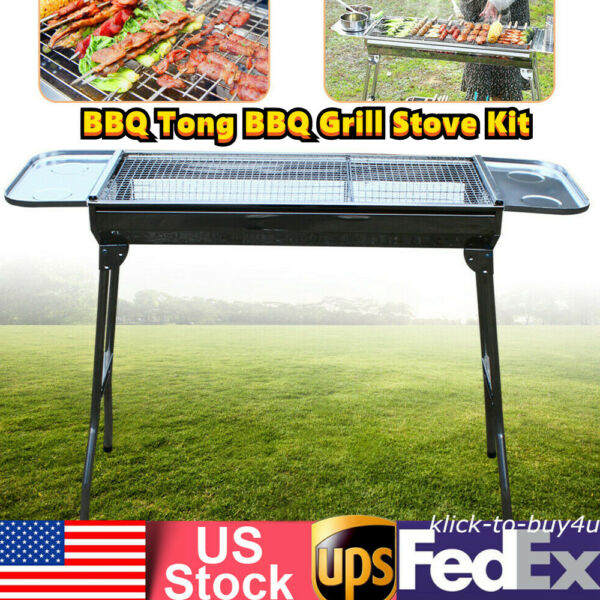 BBQ Tong BBQ Grill Stove Kit Barbeque Grill Stainless Charcoal Grill Camping