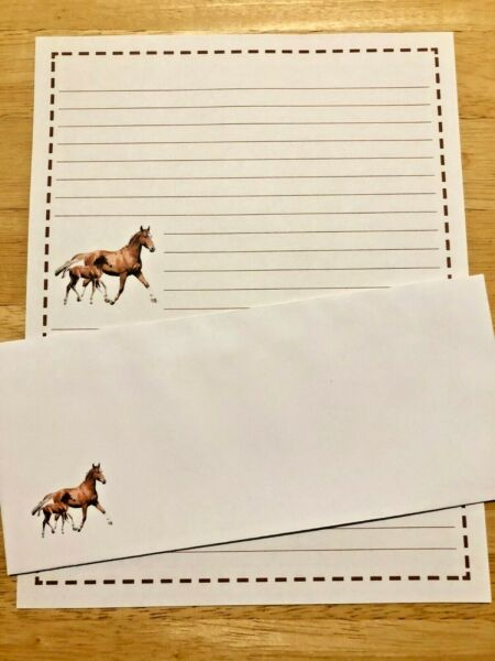 Horses Stationery Set With 12 Sheets 6 Envelopes Lined Stationary $12.00