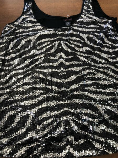 Torrid 2 2x zebra sequined tank top #2990 $28.00