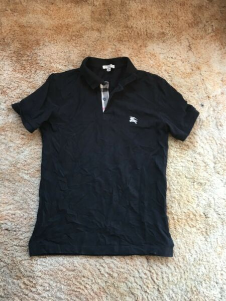 New Burberry Authentic polo shirt men#x27;s size Small S Black $39.00