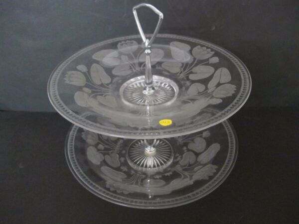 STUNNING ART DECO SIGNED HAWKES DOUBLE STAND GLASS COOKIE DISH $124.00