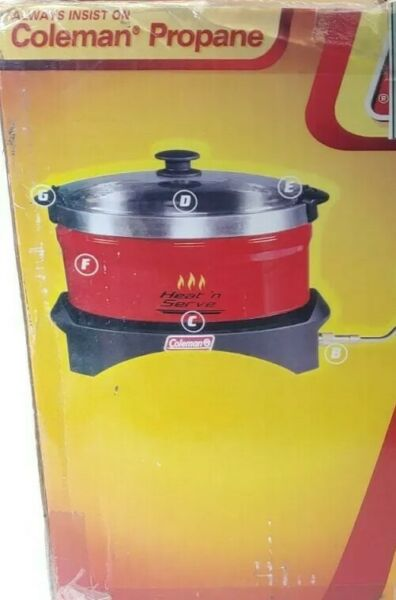 New Coleman Heat 'N Serve Portable Red Propane Heat #x27;N Serve Slow Cooker w box $96.79