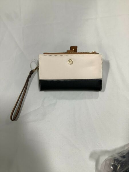 Anne Klein Womens Colorblock Inner Pockets Leather Ivory Black Wallets Size OS $25.99