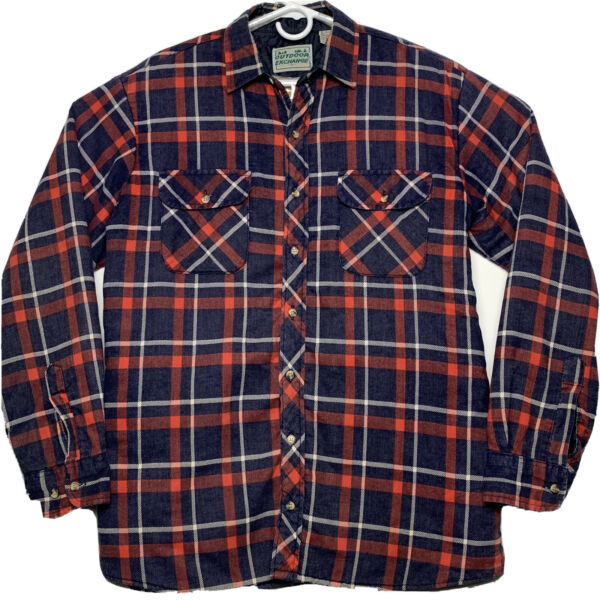 VTG Outdoor Exchange Plaid Lined Quilted Flannel Jacket Mens Large Red Blue 90's $30.00
