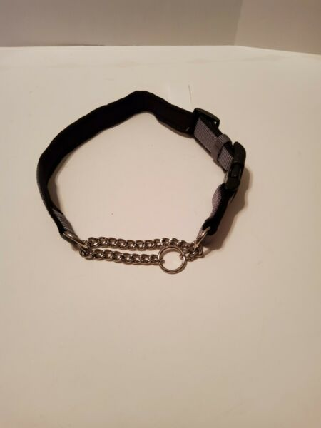 Nylon Chain Dog Collar To Help Train Your Dog To Walk with You Size Medium Gray $7.90