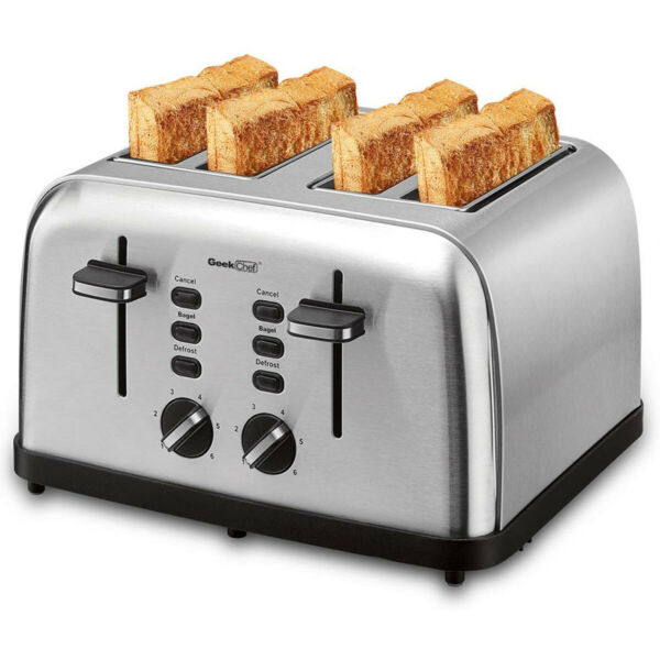 4 Slice Toaster Stainless Steel Toaster 6 Shade Settings with Dual Control Panel