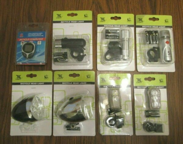 Bicycle Accessories Lot Head Light LED Set 7 Lights 1 Computer Speed Time $37.44