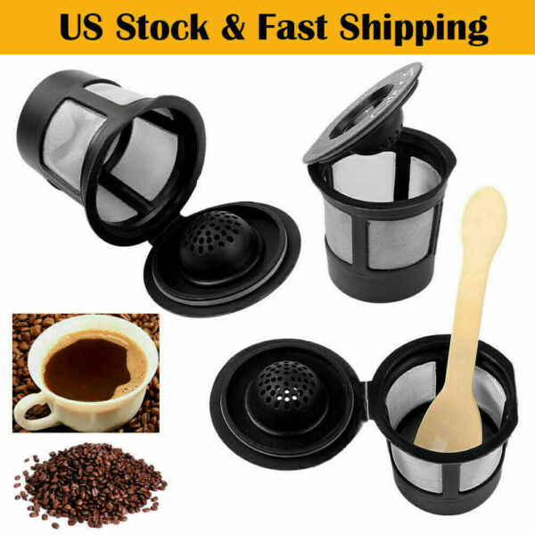 6 Black Refillable Reusable Single K Cups Filter Pod for Keurig Coffee Makers