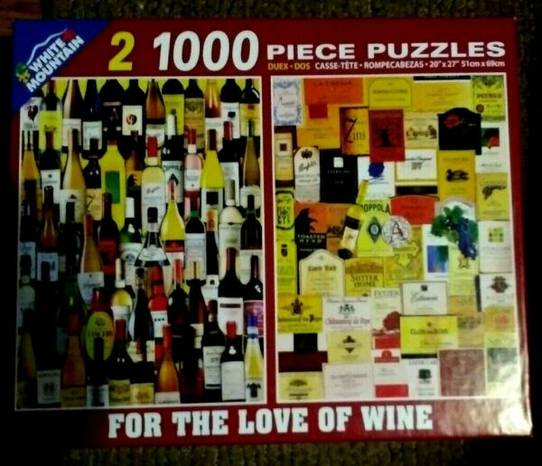 White Mountain quot;FOR THE LOVE OF WINEquot; 2 in 1 1000 piece 20quot;x27quot; puzzles $9.00