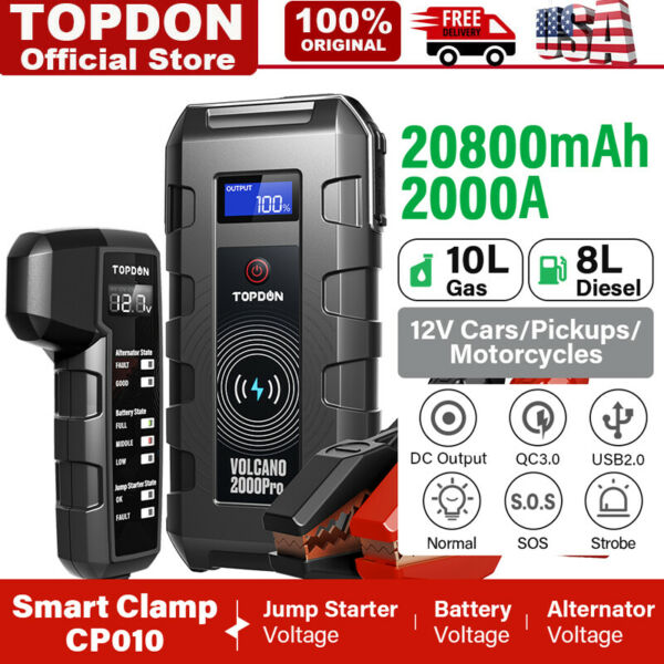 TOPDON V2000Pro Auto Battery Booster Pack Charger Power Jump Starter Box Heavy $159.00