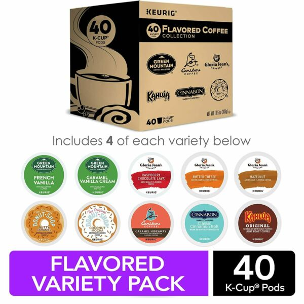 Keurig Flavored Coffee Collection Variety Pack Single Serve K Cup Pods 40 Count