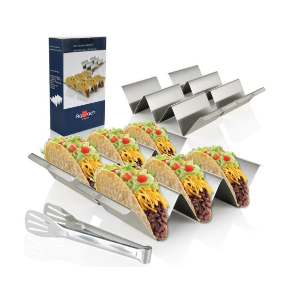 Taco Holder Stands Set of 4 Stainless Steel Taco Tray with Built in Handle... $16.99
