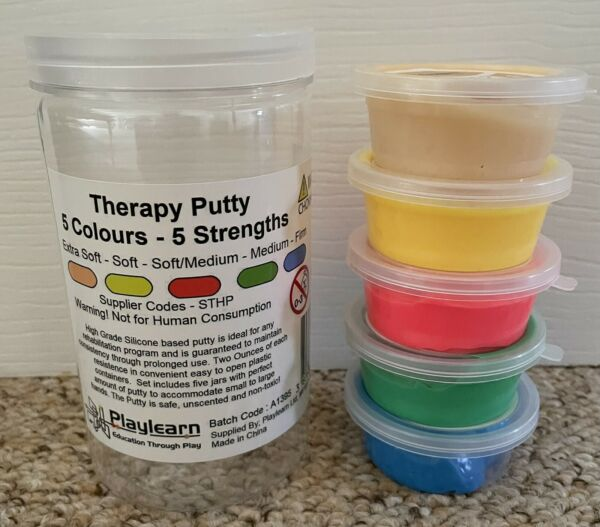 Playlearn Therapy Putty Set of 5 Jars Strengths Extra Soft Medium Firm GBP 12.00