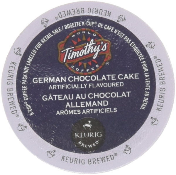 48 Count Timothy#x27;s German Chocolate Cake Flavored Coffee K Cup For Keurig Brew