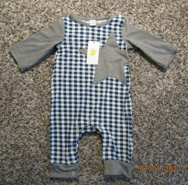 Little Sun Baby Boys One Piece Knit Outfit 3 Months Gray Blue White Check Romper