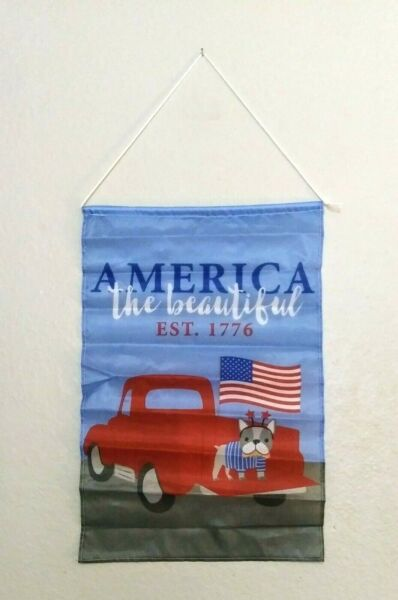 GARDEN FLAG RED PICKUP TRUCK USA FLAG DOG AMERICA THE BEAUTIFUL W ROD amp; CORD $6.99