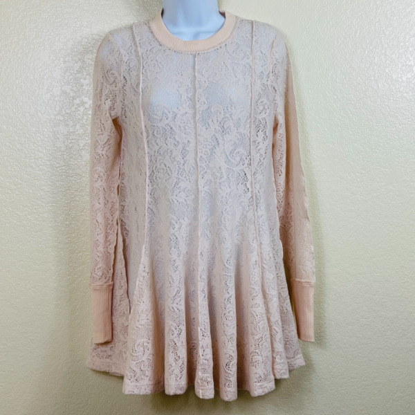 Free People Womens Coffee In The Morning Casual Chamoix Tunic Top Size S NWT