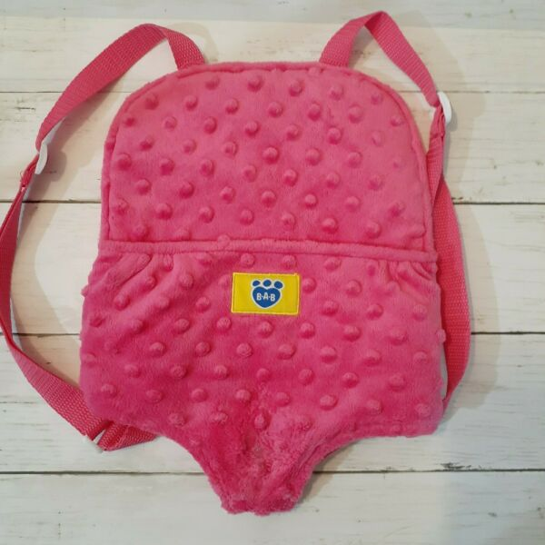 BUILD A BEAR Pink Plush Animal Toy CARRIER BACK PACK Adjustable Straps BABW $6.99