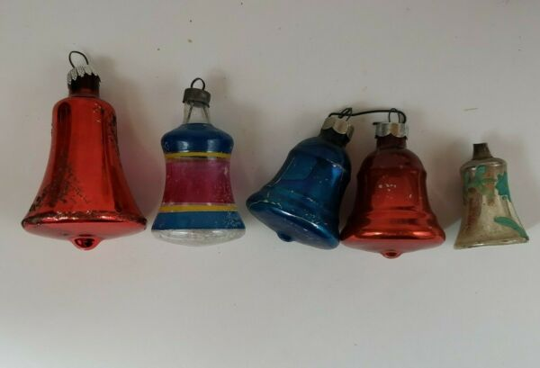 Vintage Antique Bells Glass Christmas Ornaments lot of 5 Red blue