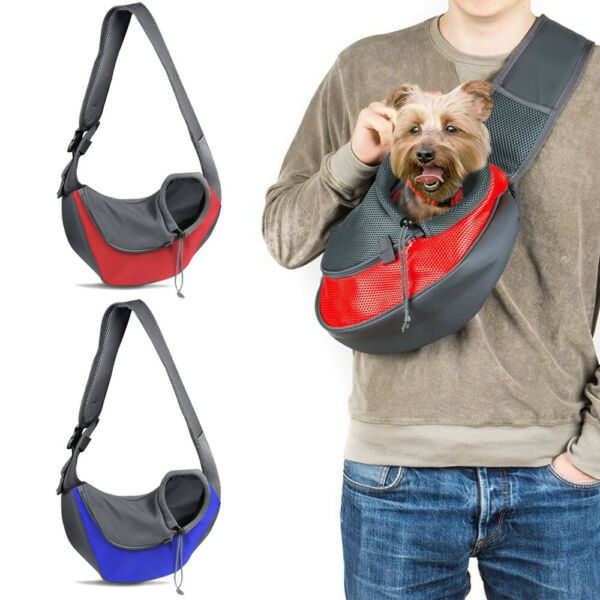 Pet Dog Sling Carrier Breathable Mesh Puppies Cats Outdoor Travel Carrier Pouch $15.19