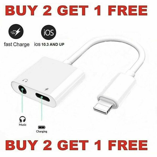Dual Adapter 3.5mm Headphone amp; Charger 2 in 1 Adapter for iPhone 12 11 XR XS X 8