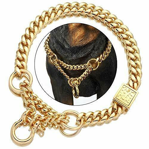 Dog Martingale Collar Metal Gold Chain Collar with Design Secure Buckle and B... $36.42