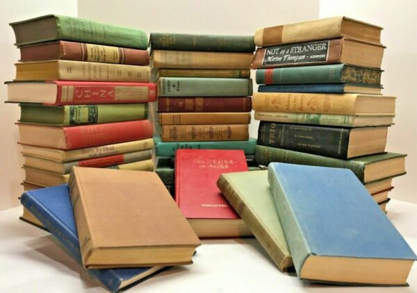 Lot of 10 Vintage Old Rare Antique Hardcover Books Mixed Color Random Home Decor