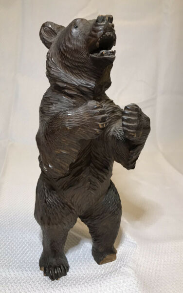 Authentic Antique LARGE BLACK FOREST BEAR Walnut Carving Glass Eyes MASTERFUL