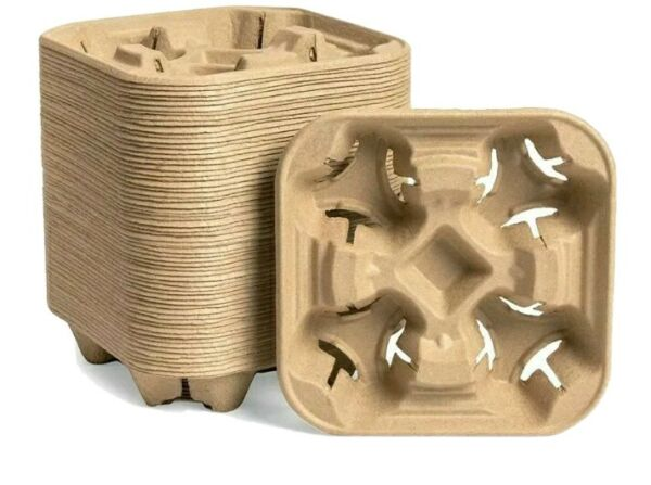 Pulp Fiber Coffee Carrier 4 Cup Carry Holder for Hot and Cold Drinks 25 Pack $15.00